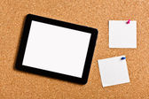 Touch tablet with note papers — Stock Photo