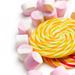 Sweet marshmallows and lollipop — Foto de Stock