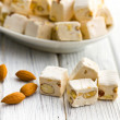 White nougat with almonds — Stock Photo