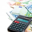 Euro banknotes and calculator — Foto de Stock