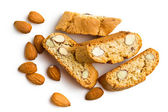 Cantuccini cookies and almonds — Stock Photo