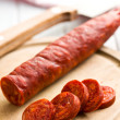Sliced tasty chorizo sausage — Stock fotografie