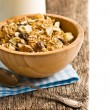 Muesli in wooden bowl — Stock Photo