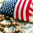 Rosary beads with american flag — Foto de Stock