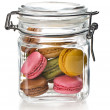 Colofrul macaroons in glass jar — Stock Photo