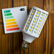 LED lightbulb with energy label — Stock Photo