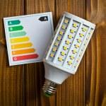 LED lightbulb with energy label — Stock Photo
