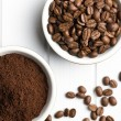 Stock Photo: Coffee beans and ground coffee