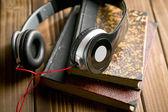 Headphones with books — Stock Photo