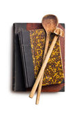 Recipe books with wooden kitchenware — Stock Photo