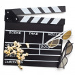 Clapperboard with 3d glasses — Stock fotografie
