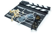 Clapperboard with 3d glasses — Stockfoto