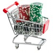 Poker chips in shopping cart — Stock Photo #39035025