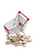 Einkaufswagen mit Dollar-Münzen — Stockfoto