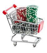 Poker chips in shopping cart — Stock Photo