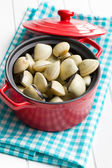 Raw clams in pot — Stock Photo