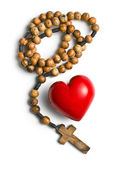 Rosary with heart of stone — Stock Photo