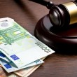 Judge gavel with euro bills — Stock Photo #40464529