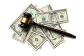 Judge gavel on american dollars — Stock Photo
