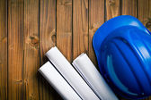 Hard hat with drawings — Stockfoto