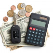 Car key with dollars and calculator — Stock Photo #41249561