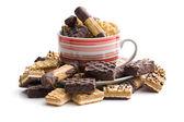 Mix of sweet cookies in coffee mug — Stock Photo