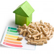 Concept of ecological and economic heating. Wooden pellets. — Stock Photo #44524817