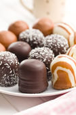 Chocolate covered marshmallows — Stock Photo