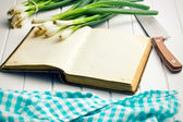 Old recipe book with spring onion — Stock Photo
