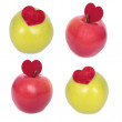 Set of apple with a heart symbol — Stock Photo