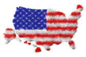 USA flag made from fur on map — Stock Photo