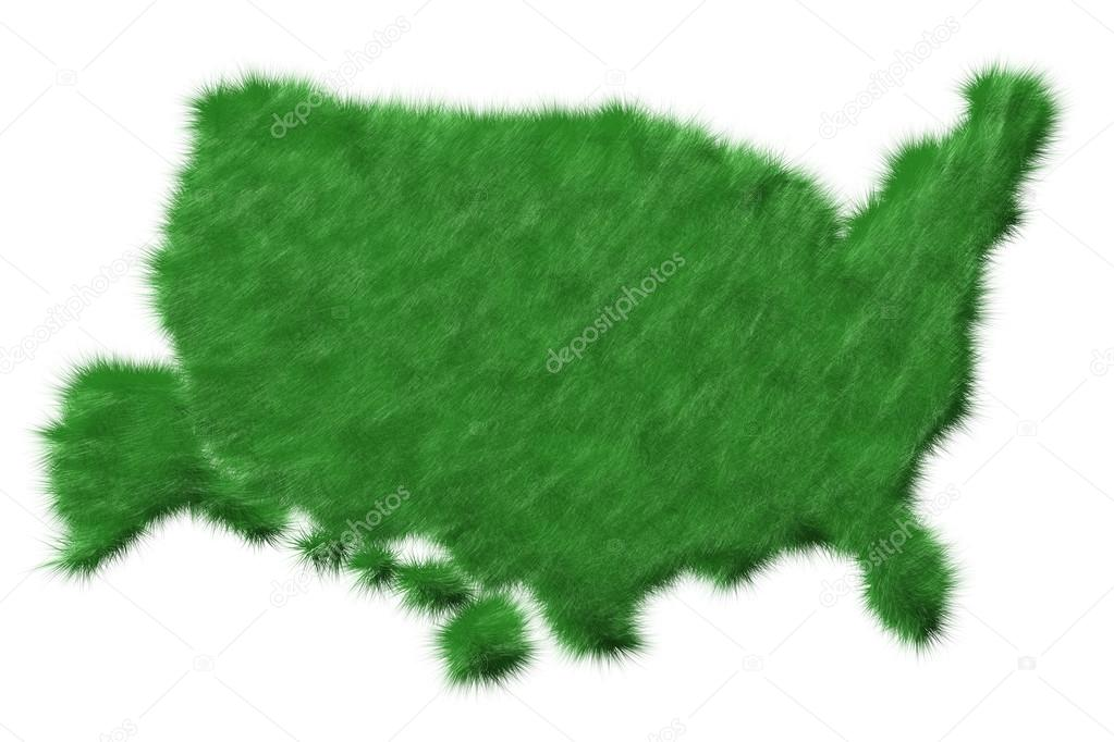 USA map from grass. Isolated on white  Stock Photo #13959544