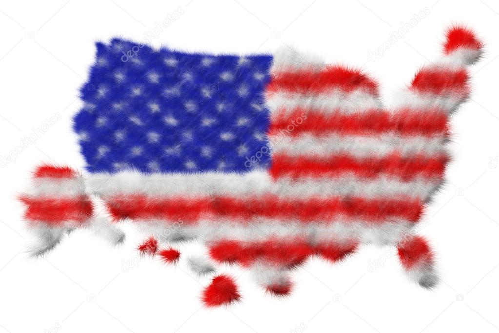 USA flag made from fur on map. Isolated on white — Stock Photo #13959546