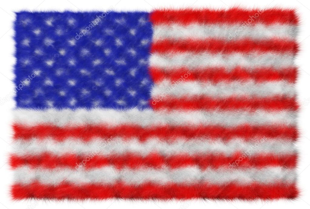 USA flag made from fur. Isolated on white — Stock Photo #13959552