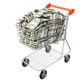 Shopping cart with many dollars — Stock Photo