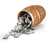 A lot of dollars fall out of a wooden barrel. — Stock Photo