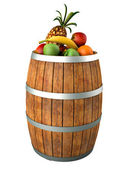 Fruits in a wooden barrel. High res 3d render. Isolated on white — Stock Photo