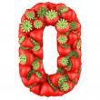 Number zero made from Strawberry. Isolated on a white. — Stock Photo #28373527