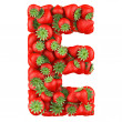 Letter - E made of Strawberry. Isolated on a white. — Stock Photo