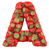 Letter - A made of Strawberry. Isolated on a white. — Stock Photo