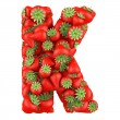Letter - K made of Strawberry. Isolated on a white. — Stock Photo