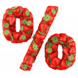 Percentage symbol made from Strawberry. Isolated on a white. — Stock Photo