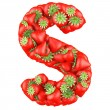 Letter - S made of Strawberry. Isolated on a white. — Stockfoto
