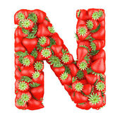 Letter - N made of Strawberry. Isolated on a white. — Stock Photo