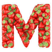 Letter - M made of Strawberry. Isolated on a white. — Stock Photo