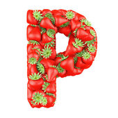 Letter - P made of Strawberry. Isolated on a white. — Stock Photo