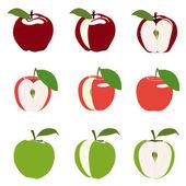 Uppsättning av äpplen — Stockvektor