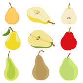 Set of pear. Isolated on white — Stock Vector