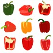 Set of sweet pepper. Isolated on white — Stock Vector