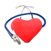 Stethoscope and Red Heart — Vettoriale Stock